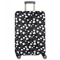 Чехол на чемодан черный с сердечками, размер М