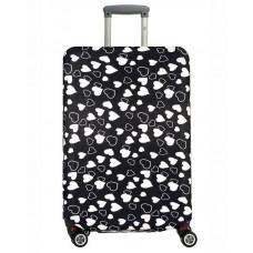 Чехол на чемодан черный с сердечками, размер L