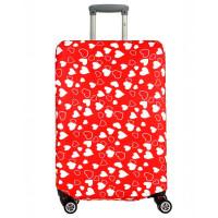 Чехол на чемодан красный с сердечками, размер L