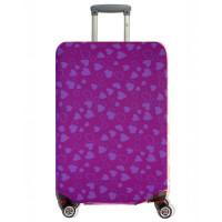 Чехол на чемодан фиолетовый с сердечками, размер L