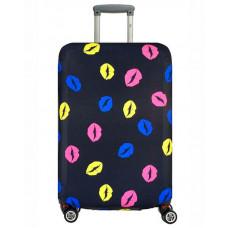 Чехол на чемодан черный с губной помадой, размер L