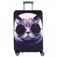 Чехол на чемодан кот в очках, размер L