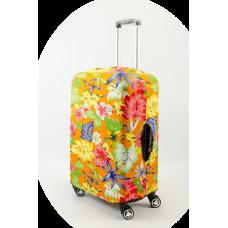 Чехол на чемодан оранжевый с цветами, размер M