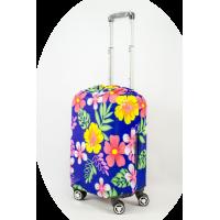 Чехол на чемодан цветы на синем фоне, размер S