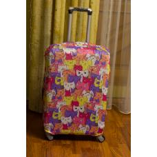 Чехол на чемодан разноцветные коты, размер L