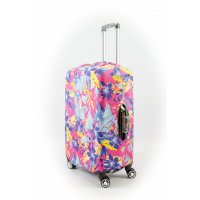 Чехол на чемодан розовый с листьями, размер M