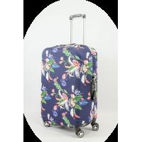 Чехол на чемодан темно-синий с листьями, размер M