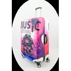 Чехол на чемодан музыкальный фестиваль, размер L