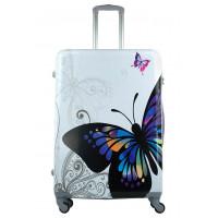 Чемодан King of King Butterfly (Комфорт), белый 75 см, L