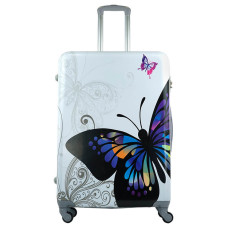Чемодан King of King Butterfly (Комфорт), белый 75 см, L 🛄