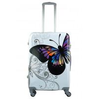 Чемодан King of King Butterfly (Комфорт), белый 66 см, М