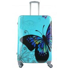 Чемодан King of King Butterfly (Комфорт), голубой 75 см, L