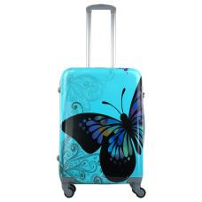Чемодан King of King Butterfly (Комфорт), голубой 66 см, М