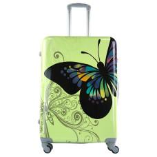 Чемодан King of King Butterfly (Комфорт), зеленый 75 см, L 🛄