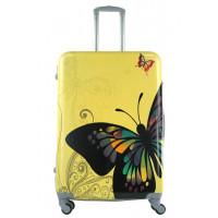 Чемодан King of King Butterfly (Комфорт), желтый 75 см, L