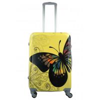 Чемодан King of King Butterfly (Комфорт), желтый 66 см, М